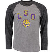 Men's Original Retro Brand Heathered Gray/Heathered Black LSU Tigers Tri-Blend Raglan Long Sleeve T-Shirt