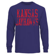 Mens Kansas Jayhawks Royal Blue Straight Out Long Sleeve T-Shirt
