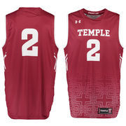Men's Under Armour #2 Cardinal Temple Owls Performance Replica Basketball Jersey