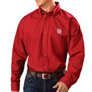 Men's Antigua Red Houston Cougars Esteem Woven Button-Down Long Sleeve Shirt