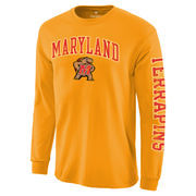 Men's Fanatics Branded Gold Maryland Terrapins Distressed Arch Over Logo Long Sleeve Hit T-Shirt