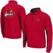 Men's Colosseum Red Louisville Cardinals Crest Quarter Zip Pullover Sweatshirt