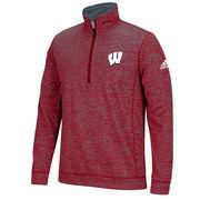 Men's adidas Red Wisconsin Badgers Tech 1/4-Zip climawarm Jacket