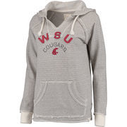 Women's Blue 84 Cream Washington State Cougars Striped French Terry V-Neck Hoodie
