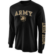 Men's New Agenda Black Army Black Knights Big Arch & Logo Long Sleeve T-Shirt with Sleeve Hit