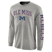 Men's Heathered Gray Ole Miss Rebels Distressed Arch Over Logo Long Sleeve Hit T-Shirt