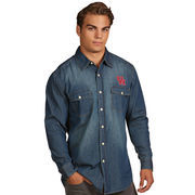 Men's Antigua Blue Houston Cougars Dark Chambray Long Sleeve Button-Up Shirt