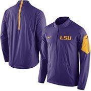 Men's Nike Purple LSU Tigers 2015 Football Coaches Sideline Half-Zip Wind Jacket