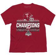Men's Garnet Temple Owls 2016 AAC Football Champions Locker Room T-Shirt