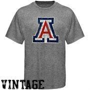 Arizona Wildcats Distressed Big Logo Ring Spun T-Shirt - Gray