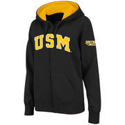 Women's Stadium Athletic Black Southern Miss Golden Eagles Arched Name Full-Zip Hoodie