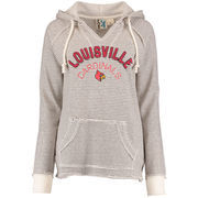 Women's Blue 84 Cream Louisville Cardinals Striped French Terry V-Neck Pullover Hoodie