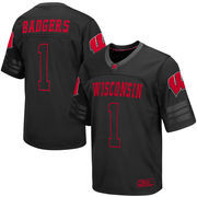 Men's Colosseum #1 Black Wisconsin Badgers Blackout Football Jersey