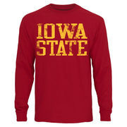 Mens Iowa State Cyclones Cardinal Straight Out Long Sleeve T-Shirt