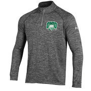 Men's Under Armour Heather Gray Ohio Bobcats 1/4 Zip Long Sleeve Tech T-Shirt