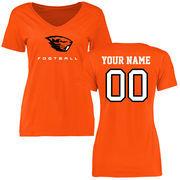 Women's Orange Oregon State Beavers Personalized Football Slim Fit T-Shirt