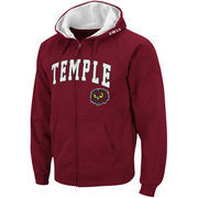 Men's Colosseum Garnet Temple Owls Arch & Logo Full Zip Hoodie