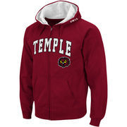Men's Stadium Athletic Cherry Temple Owls Arch & Logo Full Zip Hoodie