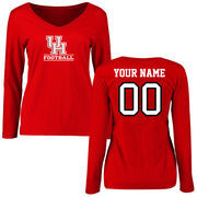 Women's Red Houston Cougars Personalized Football Slim Fit Long Sleeve T-Shirt