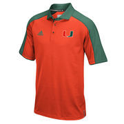 Men's adidas Orange/Green Miami Hurricanes 2016 Football Coaches Sideline climalite Polo
