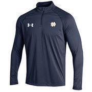 Men's Under Armour Navy Notre Dame Fighting Irish Sideline Stripe Knit Quarter-Zip Performance Jacket
