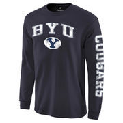 Men's Fanatics Branded Navy BYU Cougars Distressed Arch Over Logo Long Sleeve Hit T-Shirt
