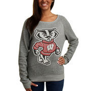 Wisconsin Badgers Ladies Big Canvas Knobi Fleece Pullover Sweatshirt - Ash