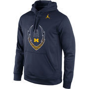 Men's Brand Jordan Navy Michigan Wolverines Football Icon Circuit Performance Pullover Hoodie
