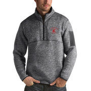 Men's Antigua Heathered Charcoal Washington State Cougars Fortune 1/2-Zip Pullover Sweater