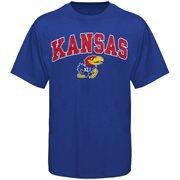 Men's New Agenda Royal Kansas Jayhawks Arch Over Logo T-Shirt
