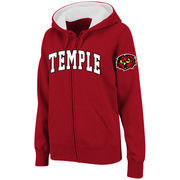 Women's Stadium Athletic Cherry Temple Owls Arched Name Full-Zip Hoodie