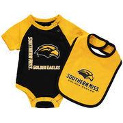 Newborn & Infant Colosseum Black/Yellow Southern Miss Golden Eagles Rookie Bodysuit & Bib Set