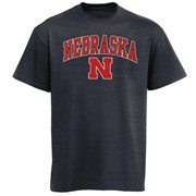 Men's New Agenda Charcoal Nebraska Cornhuskers Arch Over Logo T-Shirt