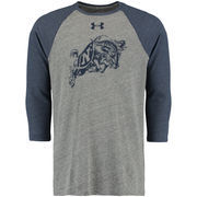 Men's Under Armour Gray Navy Midshipmen Baseball Tri-Blend Three-Quarter Sleeve Performance T-Shirt