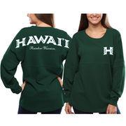 Women's Hawaii Warriors Green Pom Pom Jersey Oversized Long Sleeve T-Shirt