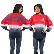 Women's Red Arizona Wildcats Ombre Long Sleeve Dip-Dyed Spirit Jersey