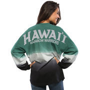 Women's Green Hawaii Warriors Ombre Long Sleeve Dip-Dyed Spirit Jersey