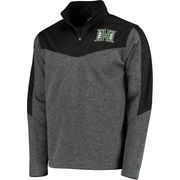 Men's Colosseum Charcoal/Green Hawaii Warriors Top Gun Quarter-Zip Pullover Jacket
