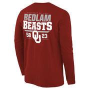 Men's Crimson Oklahoma Sooners vs. Oklahoma State Cowboys 2015 Rivalry Score Long Sleeve T-Shirt