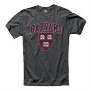 Harvard Crimson Big Arch N' Logo Ring Spun T-Shirt - Heathered Black
