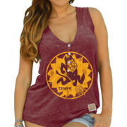Women's Original Retro Brand Maroon Arizona State Sun Devils Relaxed Henley V-Neck Tri-Blend Tank Top