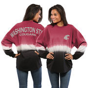 Women's Cardinal Washington State Cougars Ombre Long Sleeve Dip-Dyed Spirit Jersey