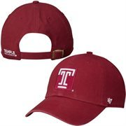 Mens Temple Owls '47 Brand Cardinal Clean-Up Logo Adjustable Hat