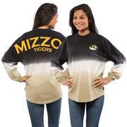Women's Black Missouri Tigers Ombre Long Sleeve Dip-Dyed Spirit Jersey