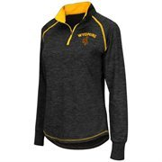 Women's Colosseum Black Wyoming Cowboys Bikram 1/4 Zip Long Sleeve Jacket