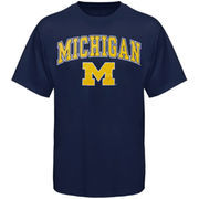 Men's New Agenda Navy Michigan Wolverines Arch Over Logo T-Shirt
