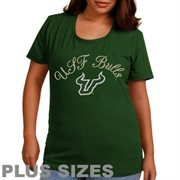 South Florida Bulls Women's Plus Size Arch Logo Glitter Scoop Neck T-Shirt - Green