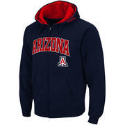 Men's Stadium Athletic Navy Arizona Wildcats Arch & Logo Full Zip Hoodie