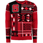 Men's Red NC State Wolfpack Patches Ugly Sweater