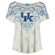 Women's Cream Kentucky Wildcats Plus Size Victorian Print Dolman Tunic